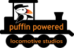 logo, puffin driving steam train